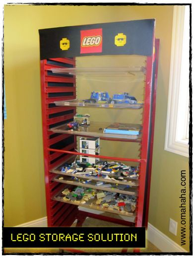 Not gonna lie, this LEGO storage solution is pretty genius! Using an old bun pan rack--this way, kids can slide their works in progress in the slots and not take up a table for weeks... :)