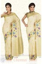 Pure Jari Meena Turning Border with Double Blouse Bridal Silk Saree PSS207 http://www.shopcost.in/bridal+silk+saree