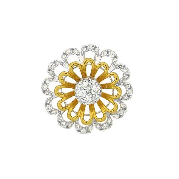 One Yellow & White Gold Flower Diamond Pendant