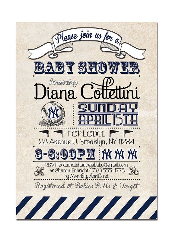 {Diana} Yankees Baby Shower Invitation. Vintage Retro Baseball Baby Shower. Boy Girl. Baby Shower Invitation by digibuddhaPaperie, $18.00  http://www.etsy.com/listing/96356477/yankees-baby-shower-invitation-baseball