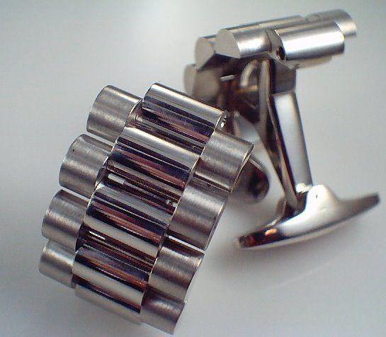 Solid Platinum Rolex watch cufflinks, custom made to match the clients sold platinum watch. #verycool #rolex #cufflinks