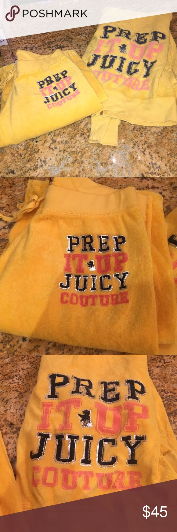 "Yellow terry cloth juicy couture track suit gorgeous juicy couture tracksuit with the saying ""Prep it up Juicy Couture"" on both the pants and the sweater. Yellow is definitely in for the upcoming Spring/summer... So get it now  for a fraction of the price !✨ Juicy Couture Other"
