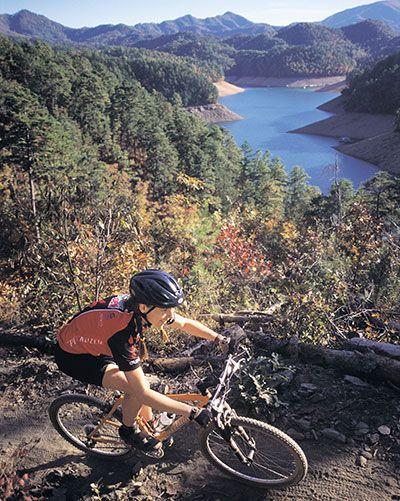 Mountain biking on the famous Tsali Trails along the shore of Lake Fontana near Bryson City, NC. NOC photo by Tim Reese.