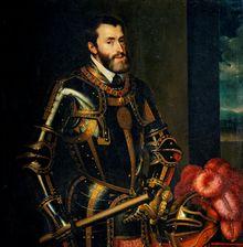 Portrait de Charles Quint par Rubens (d'après Le Titien).-  En 1519, à la mort d Maximilien, il reçoit l'Autriche et le Tyrol, domaines patrimoniaux des Habsbourg, et se porte candidat à la succession impériale. Contre le roi de France François 1°, qui achetait les électeurs avec de beaux écus sonnants, il triomphe en s'assurant le concours du banquier Fugger qui remet aux électeurs une lettre de change payable après l'élection.