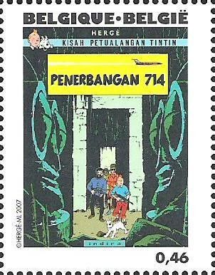 Tintin book covers translated in Indonesian: Penerbangan 714 to Sydney
