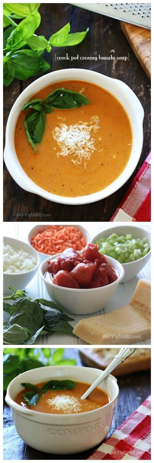 Crock Pot Creamy Tomato Soup from Skinnytaste uses canned tomatoes; PIN NOW so you'll have this for soup weather! [featured on Slow Cooker or Pressure Cooker at SlowCookerFromScratch.com] #SlowCooker #CrockPot #TomatoSoup #Vegetarian