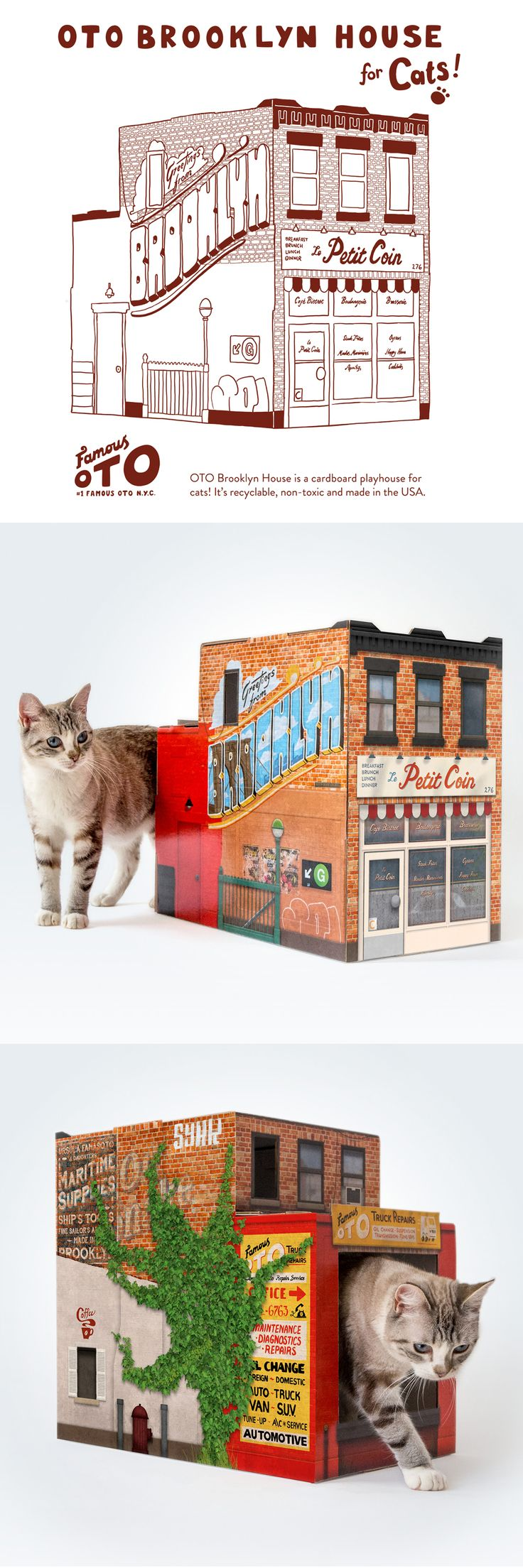 Introducing OTO Brooklyn House for Cats! This one's a tribute to our home borough, and the wonderfully patched-up buildings that line the streets from Greenpoint to Coney Island. OTO Brooklyn House for Cats features a French bistro in the front and a truck repair garage in the back. It's even got the G-train, which works approximately as well as the real thing (zing!). It's also got a side window for serving coffee - or perhaps a mauling.
