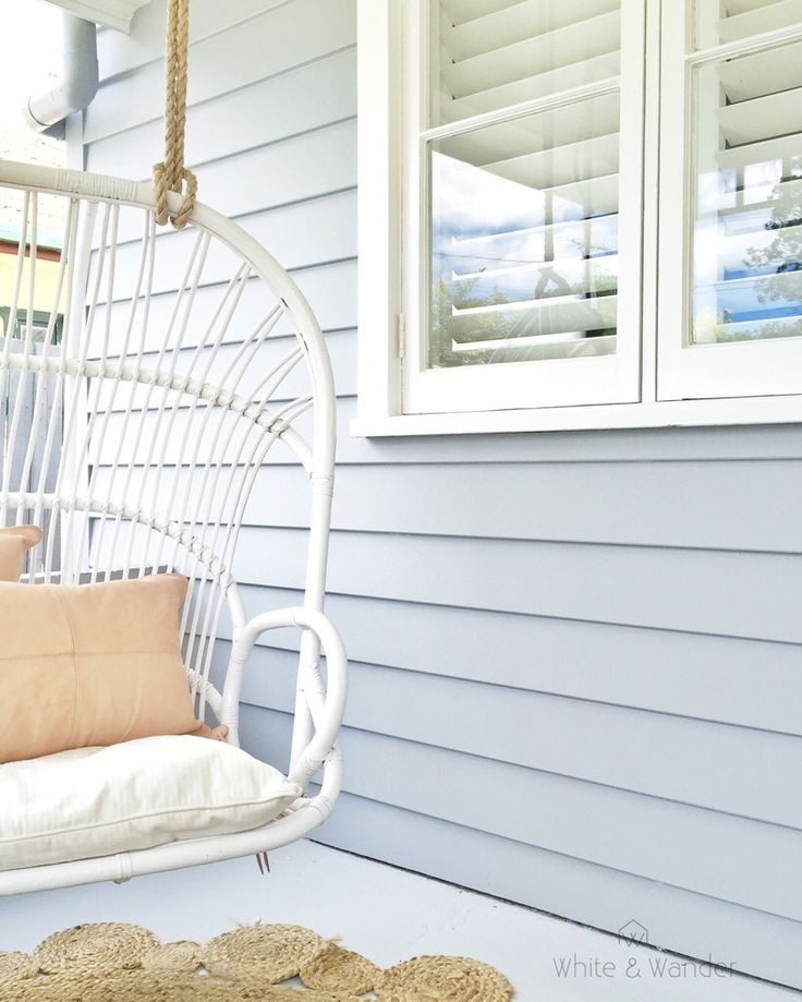 Hanging chair on front porch