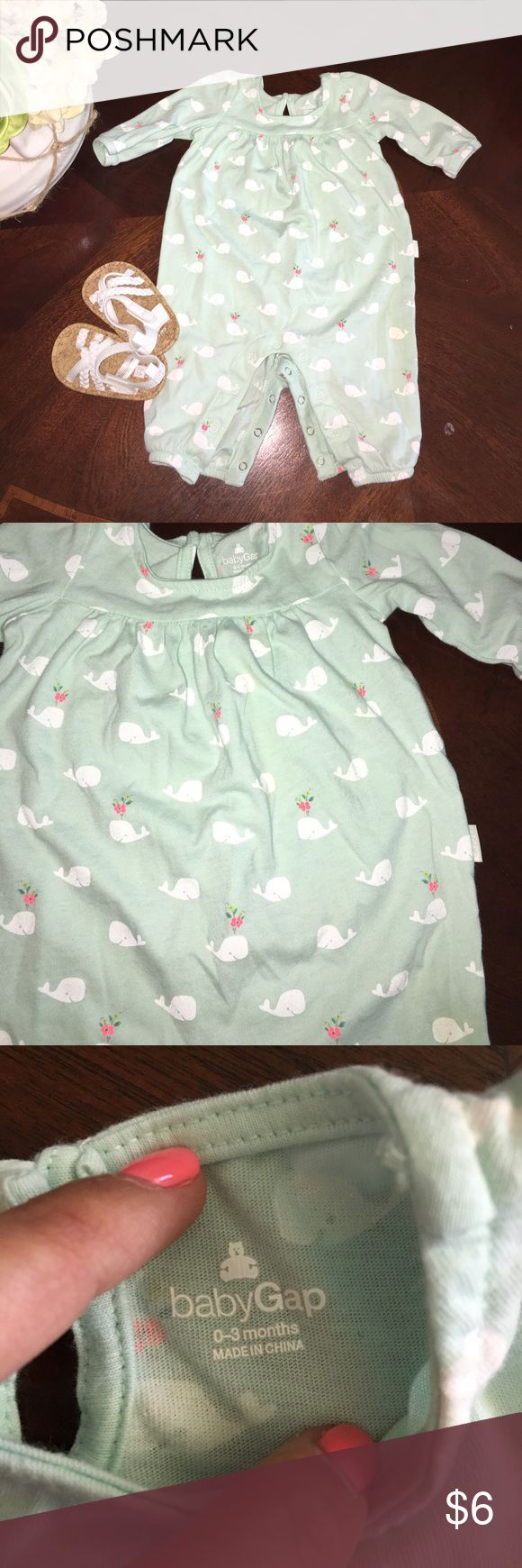 Like new! 💚Baby Gap outfit Super light weight and perfect for Spring this mint green whale print outfit is a steal for the price! Shoes not included but sold in separate listing. Smoke/pet free home. Only washed with Dreft. No rips stains or holes! GAP One Pieces