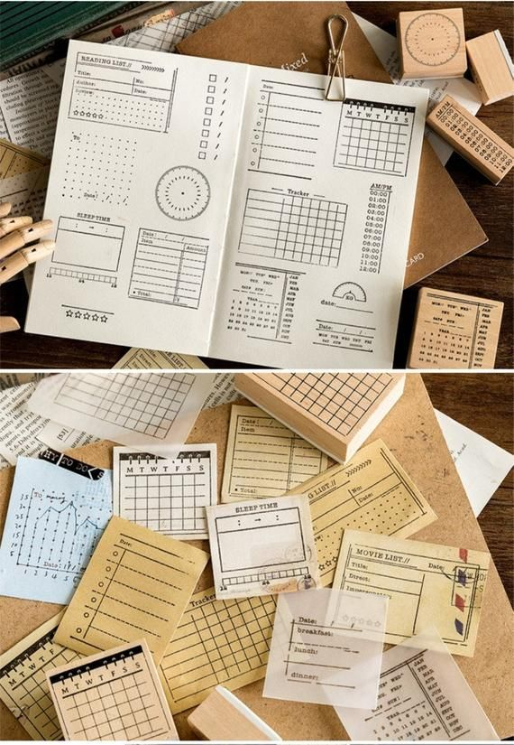 Wood Rubber Stamps 18types Planner Stamps Custom Stamps Personalized Stamp In 2020 Planner Stamps Bullet Journal Ideas Pages Bullet Journal
