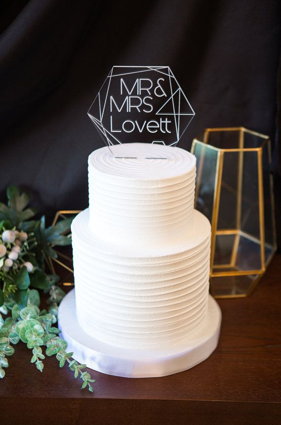 Geometric Wedding Cake Topper Clear Acrylic Personalized Names