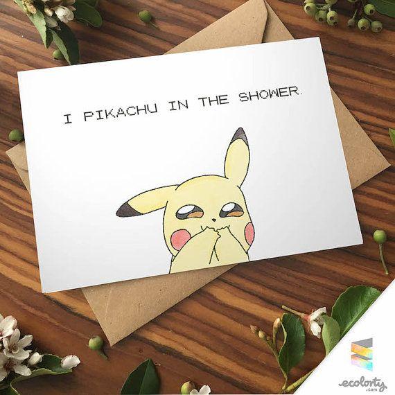 PIKACHU LOVE CARD Pokemon go greeting card - I choose you  - nerd couple geek - cute - anniversary - I love you - Nintendo - naughty -