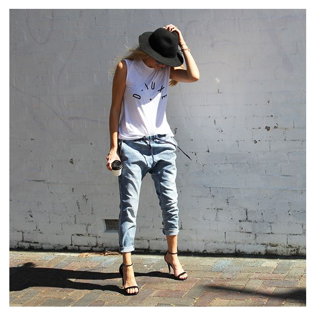 D-Luxe by Decjuba. Blogger Not So Mumsy wearing the D-Luxe Tank & Fleur Jeans