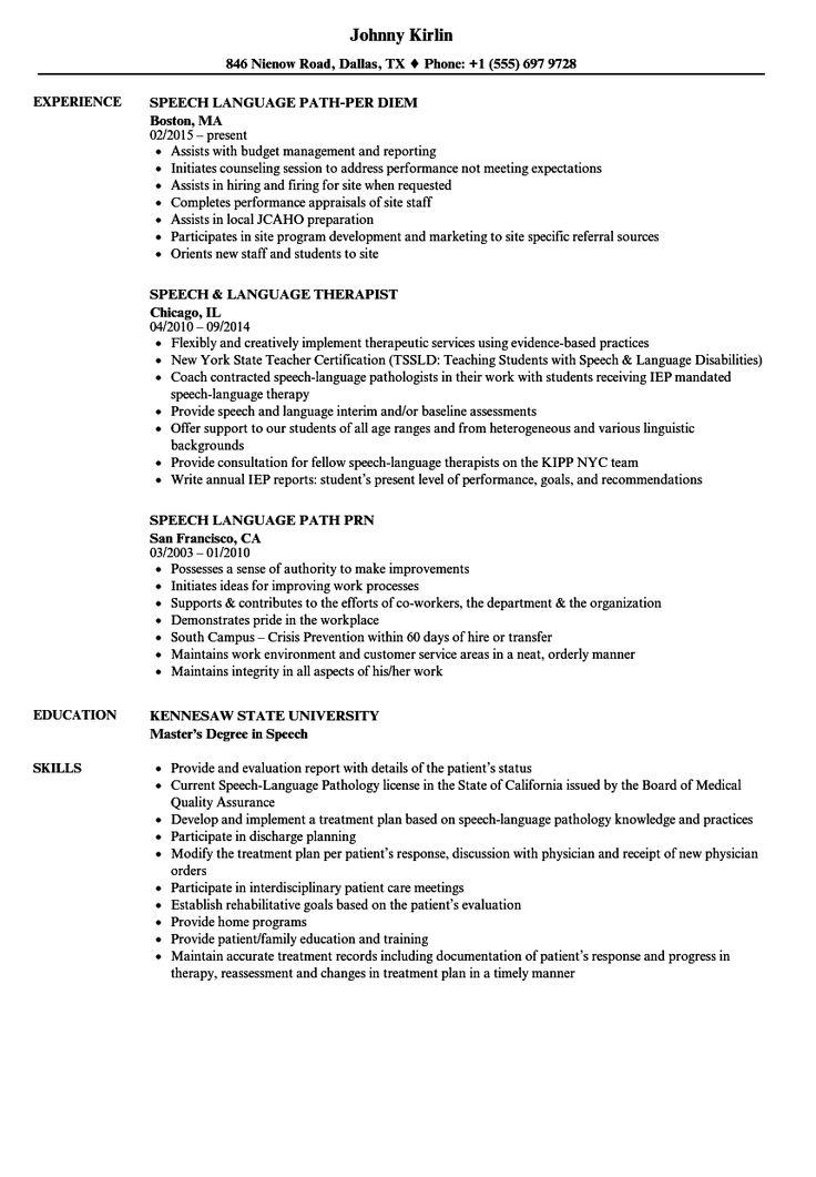 Speech language resume samples velvet jobs for speech
