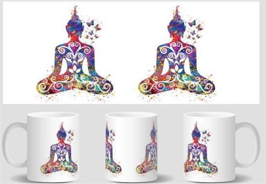 Buddha and Butterfly Yoga mugs  cold hot heat reveal magic transforming coffee mug heat changing color Tea