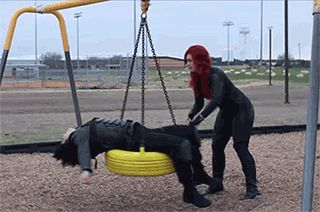 Natasha and Bucky hang out at the playground. Quite possibly the scene I'm anticipating the most in Captain America: The Winter Soldier. <---- Yeah, I wish it were in there!