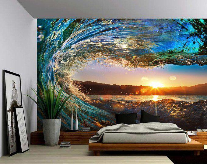 Sunrise Sea Ocean Wave Sunset Beach Large Wall Mural Self Adhesive Vinyl Wallpaper Peel Stick Fabric Wall Decal In 2021 Large Wall Murals Wallpaper Bedroom Feature Wall Floor Murals