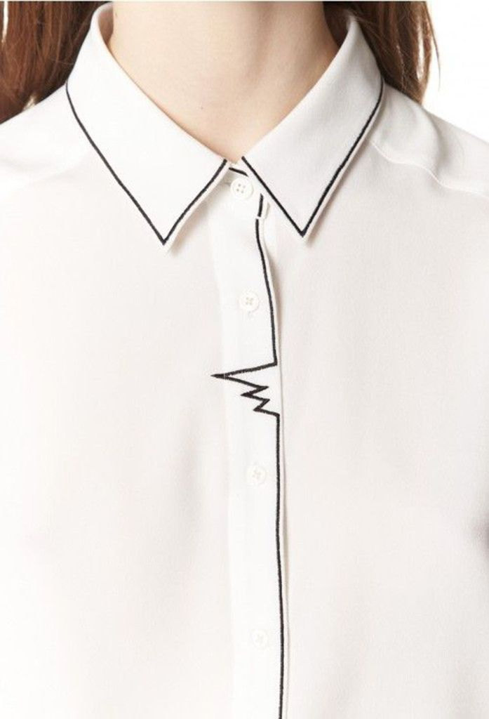White Shirt with embroidered outline stitching; fashion design detail; sewing inspiration // Claudie Pierlot: