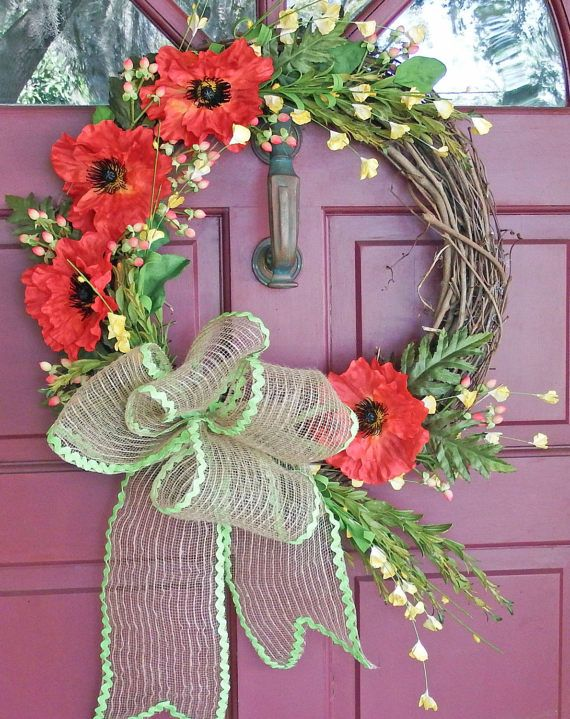 Summer wreathPoppy Spring and Summer Wreath  Front porch