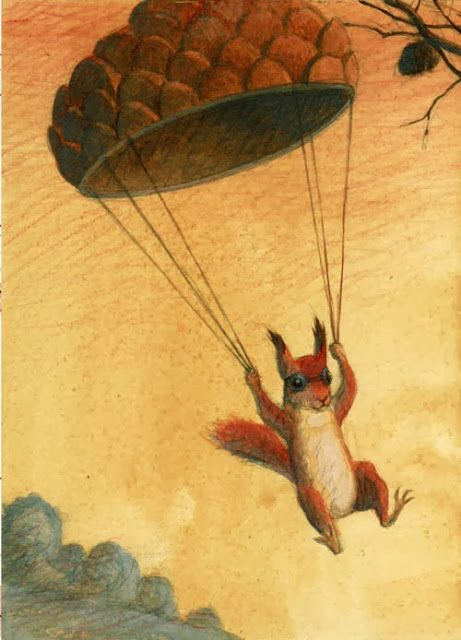 """Squirrel by Maurizio Quarello. """"Paratrooper Squirrel.  NUTS FROM ABOVE."""""""