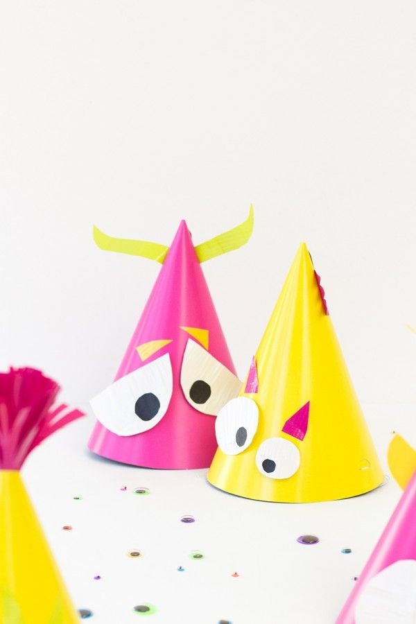 DIY Monster Party Hats with Scotch Color & Pattern Duct Tape