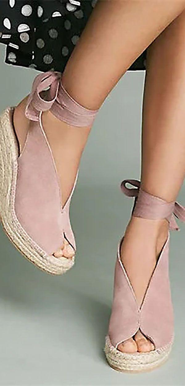 d8be7355fc3f Shop now  Espadrille Ankle Tie Sandals Peep Toe Wedge Sandals ...