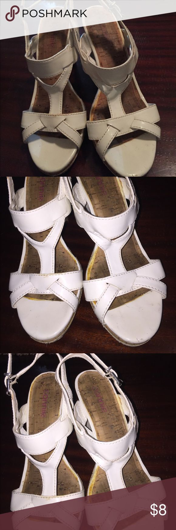 Connie White Sandals - Size 7.5, 4 Inch Heels Connie White Sandals - Size 7.5, 4 Inch Heels Connie Shoes Sandals
