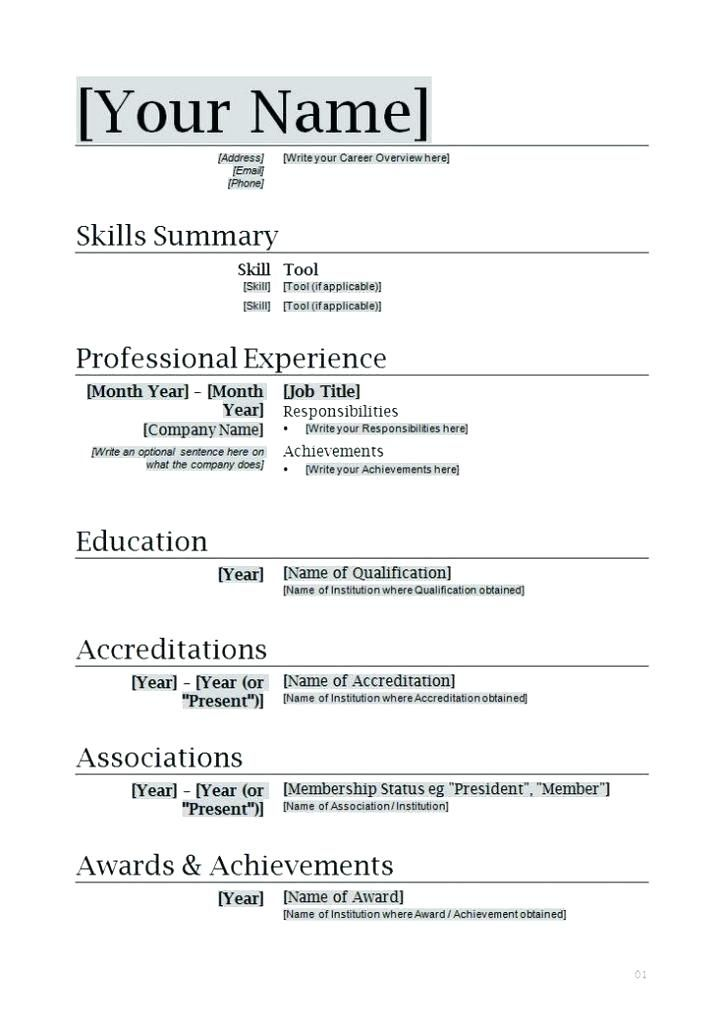 free resume format in word document