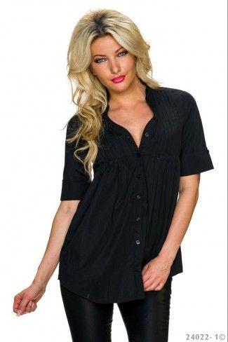 Φαρδύ κοντομάνικο πουκάμισο με πιέτες - Μαύρο