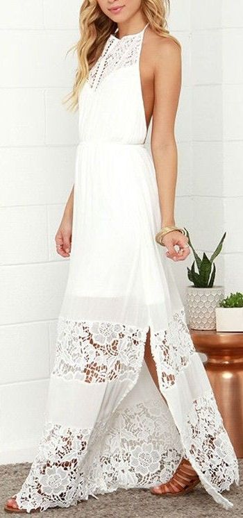 white halter backless crochet lace maxi dress ❤︎ #beach #wedding
