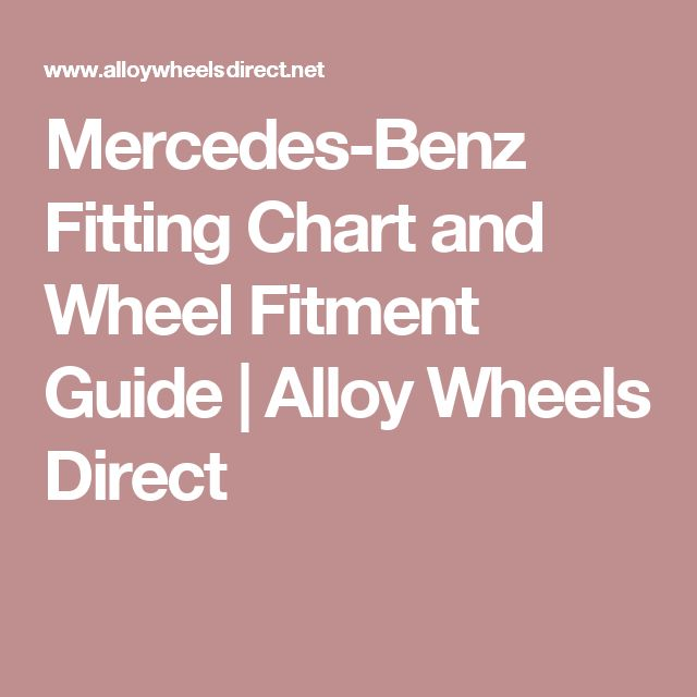Mercedes-Benz Fitting Chart and Wheel Fitment Guide | Alloy Wheels Direct
