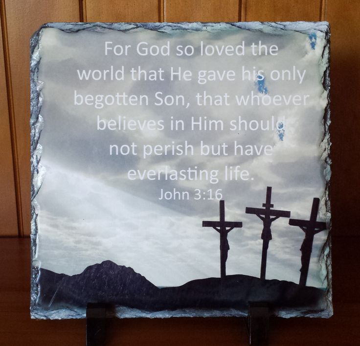 "John 3:16 ""For God so loved the world that He gave his only begotten Son, that whoever believes in Him should not perish but have everlasting life""  Handcrafted slate stone plaque with inspirational message, footrests and gift box included.    Limited stock available - http://www.biblestonesaustralia.com.au"