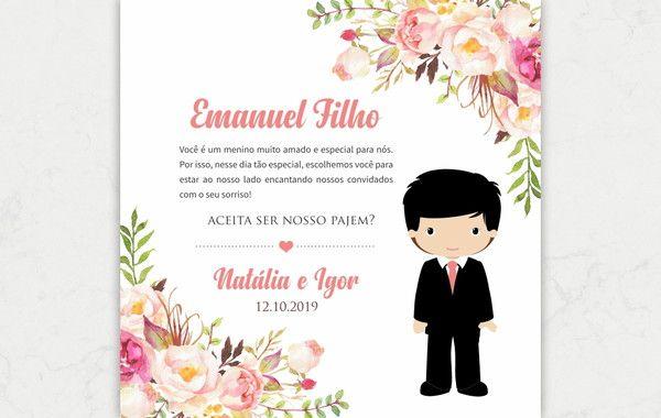 Convite Pajem Pajens Casamento Arte Digital 2020 Pajem