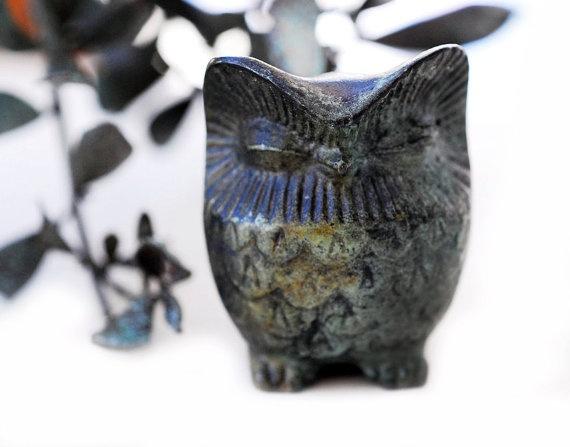 Bronze Owl Verdigris Greek Sculpture  Medium by GreekMythos,