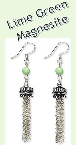 """""""Waterfalls Beacon"""" single-strand necklace and earring set features magnesite gemstone beads, antique silver-finished copper bead caps and silver-finished steel chain. - Fire Mountain Gems and Beads"""