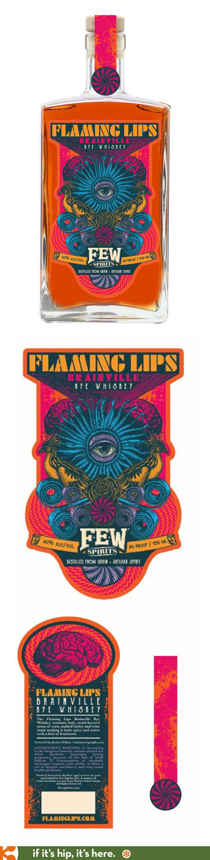 Few Spirits has collaborated with Status Seriograph to design this special Flaming Lips edition of their Branville Rye Whiskey, available this October. Limited to 5,000 bottles, the psychedelic label design is by Justin Helton.