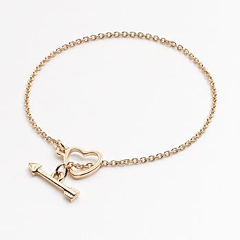 #LCLaurenConrad Gold Tone Heart and Arrow Toggle Bracelet
