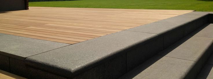 Exterpark decking with black basalt stone