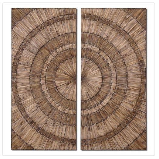 Uttermost Natural Wood Chips Lanciano Mirror-Hand pieced wood chips create an interesting and dimensional piece of art from @bellacor Dimensional wall art, wood wall art, large art, rustic art, transitional art