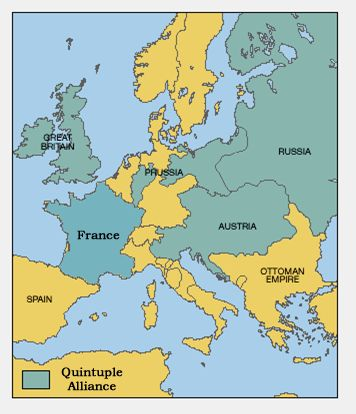 The Quintuple Alliance came into being at the Congress of Aix-la-Chapelle in 1818, when France joined the Quadruple Alliance created by Russia, Austria, Prussia and the United Kingdom. The European peace settlement concluded at the Congress of Vienna in 1815. The Alliance is conventionally taken to have become defunct along with the Holy Alliance of the three original Continental members with the death of Tsar Alexander I of Russia in 1825