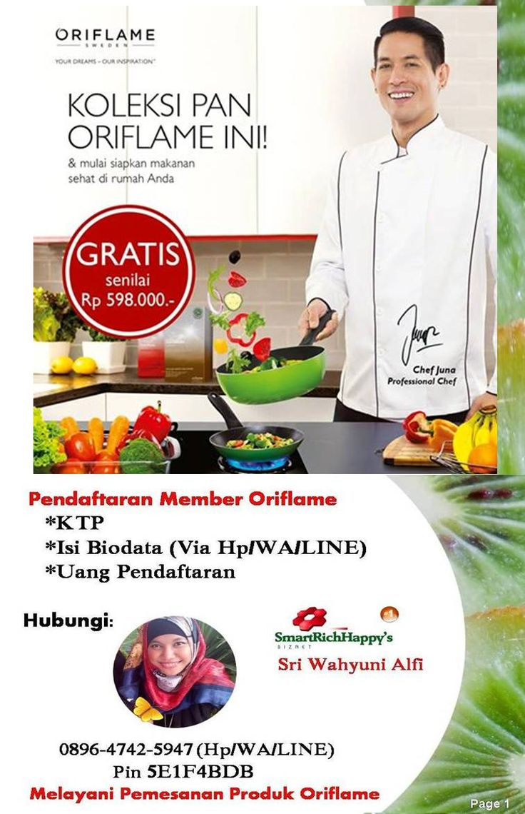 Juna chef profesional Indonesia, kalini bawakan hadiah untuk para konsultan oriflame. bagi yang belum bergabung mari daftar di promo pendaftaran orifalme april 2016 dapatkan hal yang sama yaitu hadiah oriflame set Pan. Hubungi untuk pendaftaran: Sri Wahyuni Alfi 089647425947 (Hp/WA/LINE) Pin 5E1F4BDB sriwahyuni356@gmail.com  lengkap di http://sriwahyunialfi.com/promo-dan-cara-pendaftaran-member-oriflame-bulan-april-2016-indonesia/