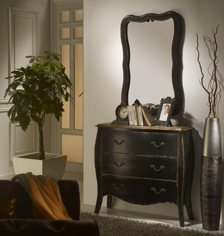 Cómoda Rústica Negra Dampierre  http://www.ambar-muebles.com/comoda-rustica-negra-dampierre.html