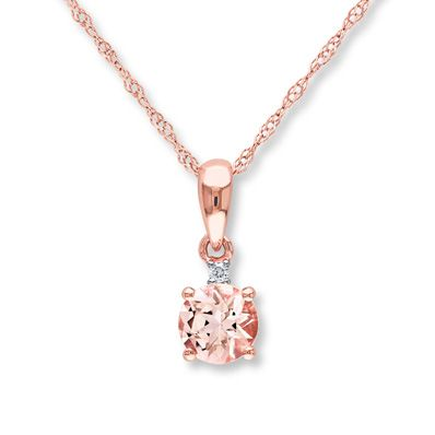 This lovely necklace for her features a round natural morganite topped with a single shimmering diamond accent. Crafted in 10K rose gold, the pendant swings from an 18-inch rope chain that fastens with a spring ring clasp.  Morganite has been treated to permanently create its color.  Gently clean by rinsing in warm water and drying with a soft cloth and avoid heat.