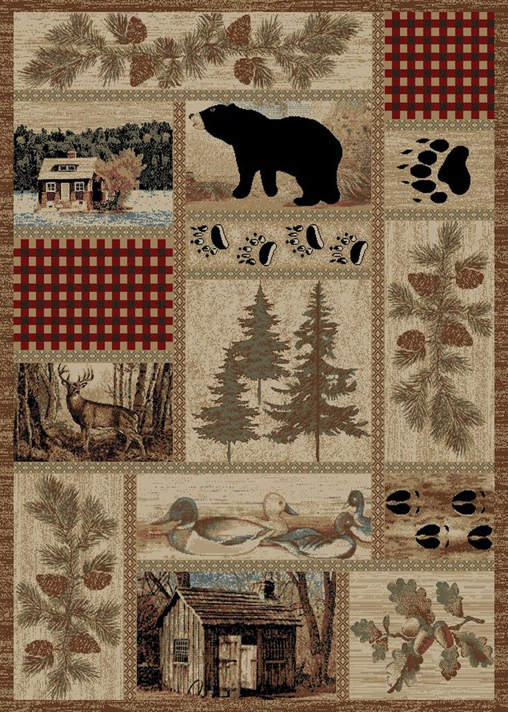 "Dean Get Away Trail Rustic Western Lodge Bear Duck Nature Cabin Area Rug Size: 5'3"" x 7'3"" - Dean Stair Treads"