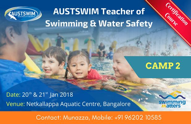 Never Miss An Opportunity Again!  The second camp to become an #AUSTSWIM Certified Swim Teacher is on 20th and 21st Jan 2018 @ Netkallappa Aquatic Centre, Bangalore.  Enroll Yourself!! Registrations will be on first-come-first-served basis.  Contact Munazza Mobile: +91 96202 10585 Email: austswim@winningmatters.in  Know more @ https://goo.gl/6iQDpr  #SwimInidia