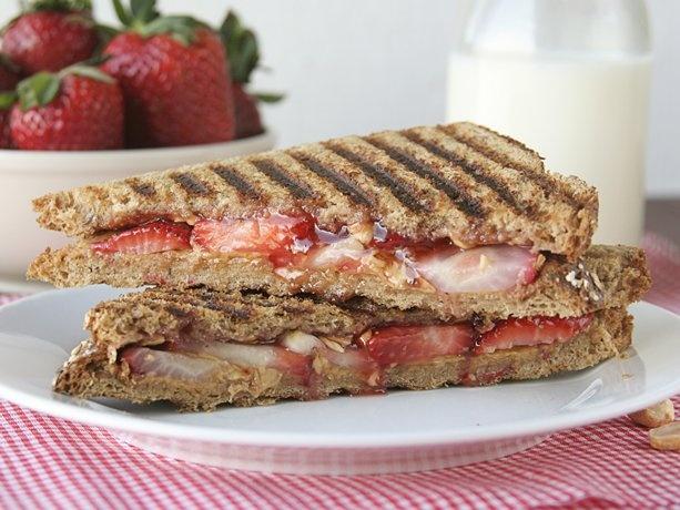 Grown-Up PB & J Sandwich: Peanut Butter Jelly, Sandwiches Recipes, Food, Strawberries, Grownuppb, Paninis, Cooking Tips, Sandwich Recipes, Grown Up Pb