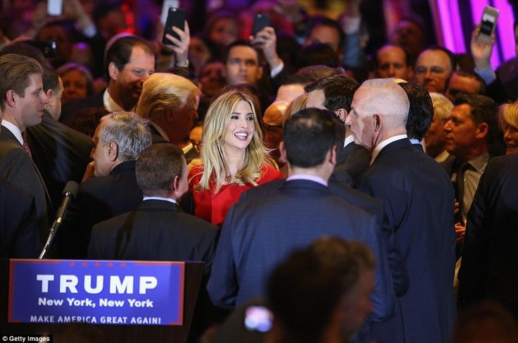 Ivanka (pictured laughing with her husband after her father's victory speech) has played a key role in her father's campaign, accompanying him on trails - despite being heavily pregnant - and even making several videos encouraging states to come out and cast their vote