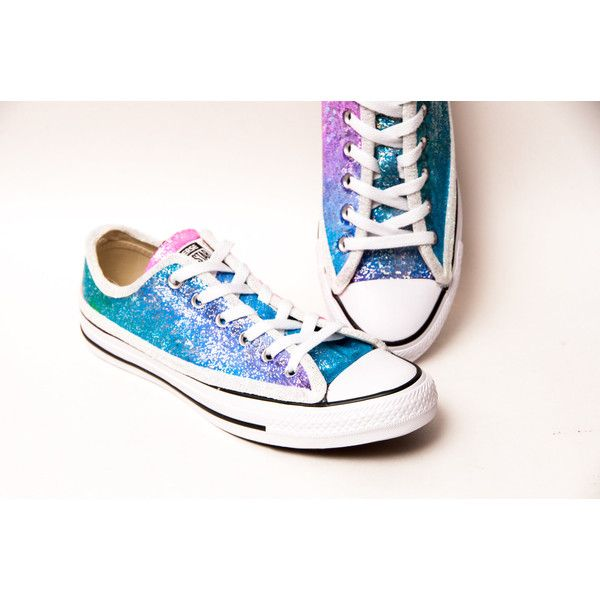 262baa5ca7150 Sequin Rainbow Unicorn Multi Colored Canvas Converse Sneakers Low ...