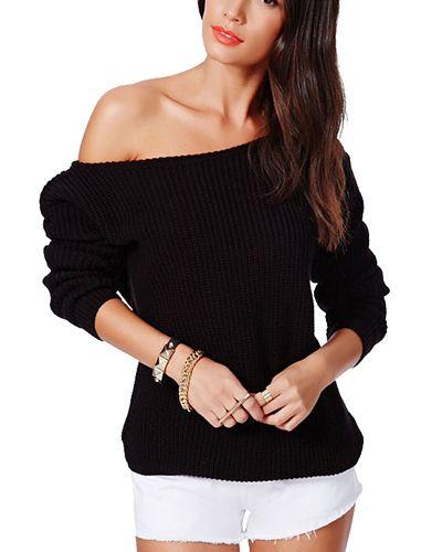 Black One Shoulder Waisted Knit Jumper In Loose Fit ST0150072-7