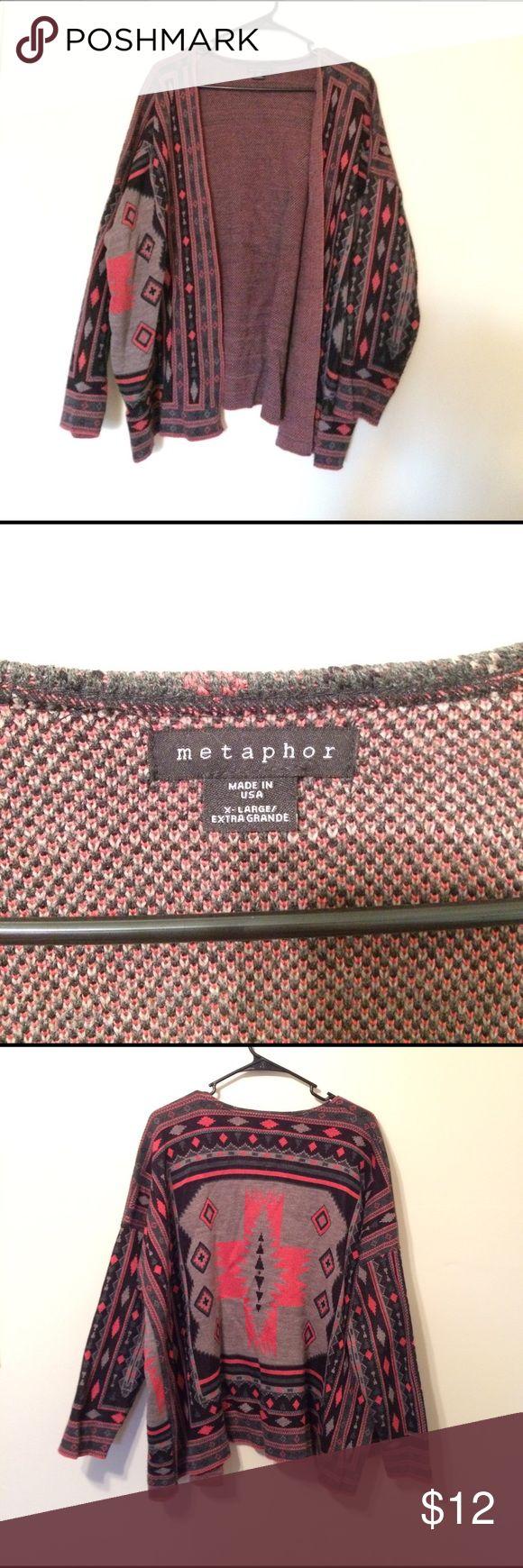 Aztec print cardigan Aztec print open cardigan. Gently worn. Baggy fit. Metaphor Sweaters Cardigans